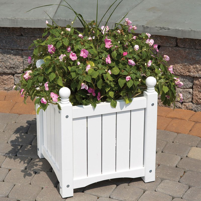 Solid Wood Lexington Planter Box-16 Inch-Natural