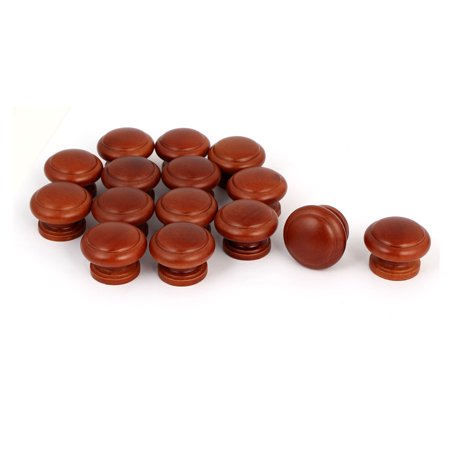 Kitchen Cupboard Cabinet Door Wooden Pull Knob Handle Dark Brown 34x26mm 15pcs - image 3 of 3