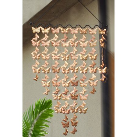 Monarch Copper Cascading Butterflies Wind Art Wind Chimes- 42 x 24 in.