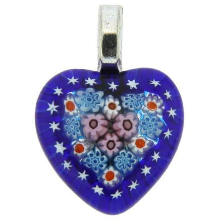 GlassOfVenice Murano Glass Millefiori Heart Pendant Medium - Navy Blue ()