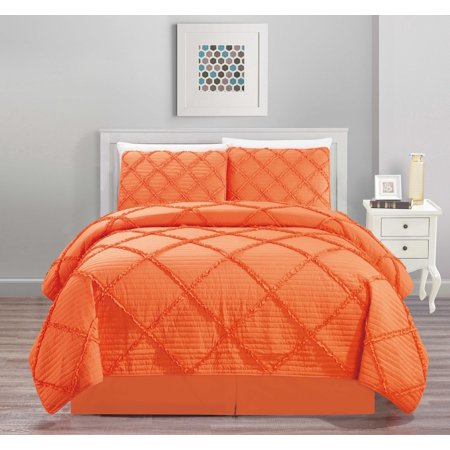 All American Collection New 4pc Diamond Pleated Ruffle Bedspread/Quilt Set with Bedskirt ()