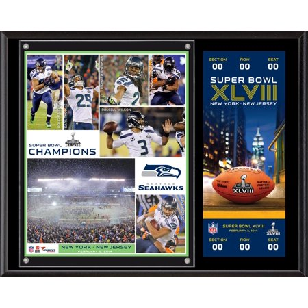 Seattle Seahawks Super Bowl XLVIII Champions 12'' x 15'' Plaque with Replica Ticket