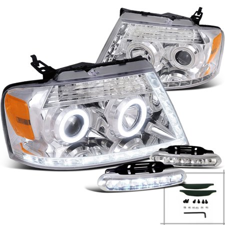 Spec-D Tuning 2004-2008 Ford F150 Mark Lt Chrome Halo Projector Head Lights W/ 6-Led Fog Lamps (Left + Right) 04 05 06 07 08
