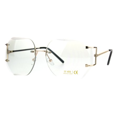 Gold Luxury Designer Rectangular Rimless Oversize Butterfly Clear Lens Eye Glasses (Eye Designer)