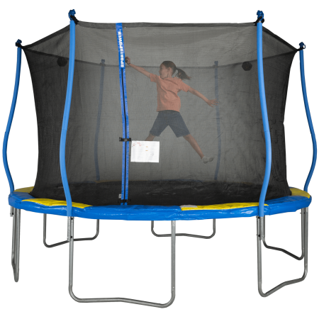 Bounce Pro 12-Foot Trampoline, with Classic Enclosure, Electron Shooter, Blue/Yellow