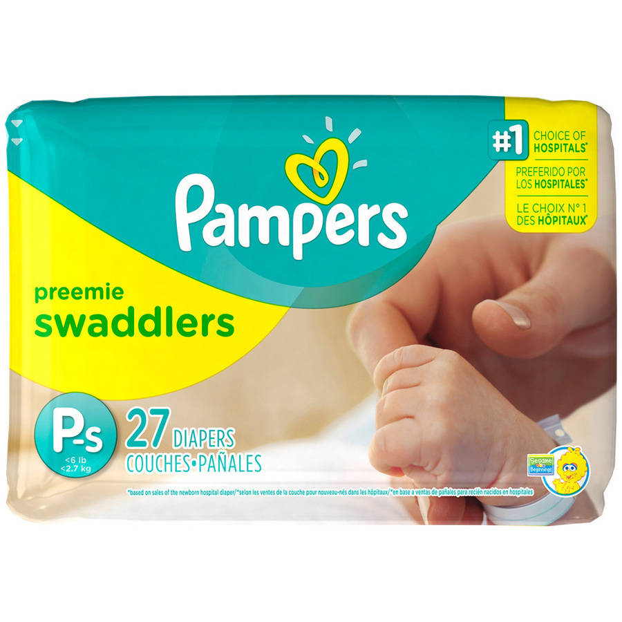 Pampers Swaddlers Diapers, Size Preemie, 27 Diapers (Jumbo Pack)