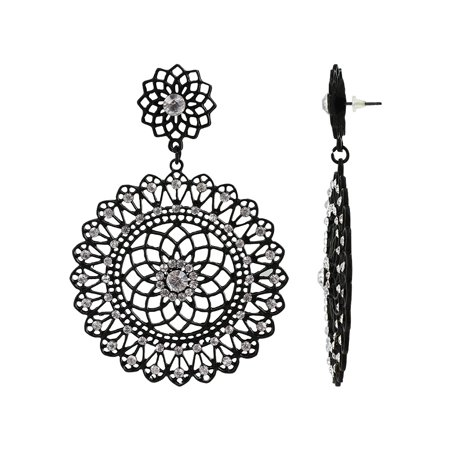 Gem Avenue Captivating Floral Round shape Rhinestones accents Dangle Earrings