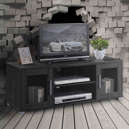 Hodedah Imports Entertainment Unit with Glass Doors - Black ()