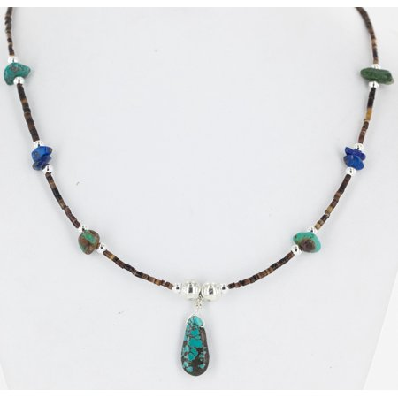 Delicate Certified Authentic Navajo .925 Sterling Silver Heishi Lapis and Turquoise Native American Necklace (Heishi Shell Necklace)