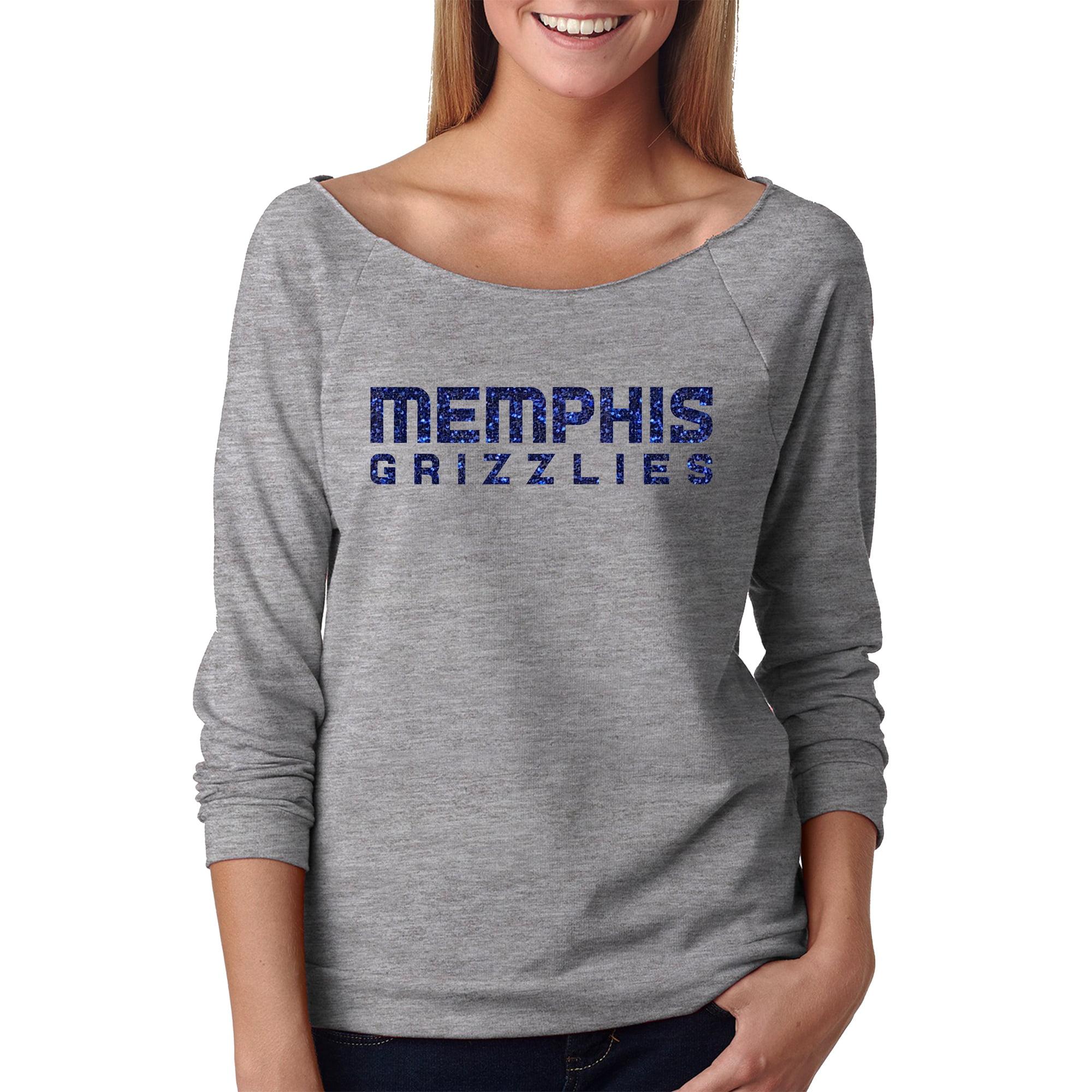 Memphis Grizzlies Off the Shoulder Long Sleeve Pullover Fleece - Gray