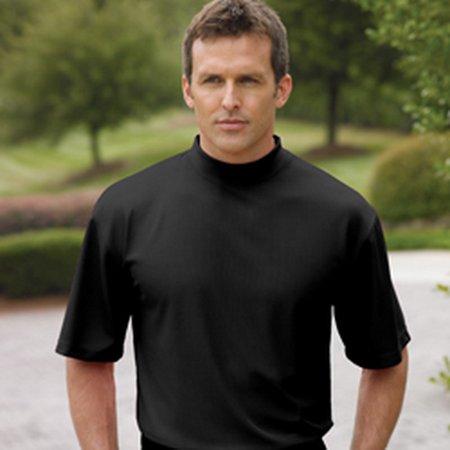 Whispering Pines Sportwear 400 Short Sleeve Performance Mock Shirt, Black,