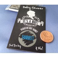 "Vintage Chalkboard ""It's a Boy"" Baby Shower Scratch Off Game Card ~ Set 25 Cards ~ Game Card Set"