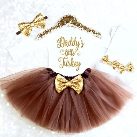 DADDYS LITTLE TURKEY Baby Girl infant Outfits 4PCS Tops Tutu Skirts Clothes Set](Halloween Outfit Dead School Girl)