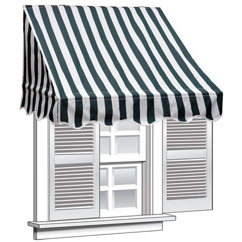 ALEKO 6' x 2' Window Awning Door Canopy, Green and White Stripes