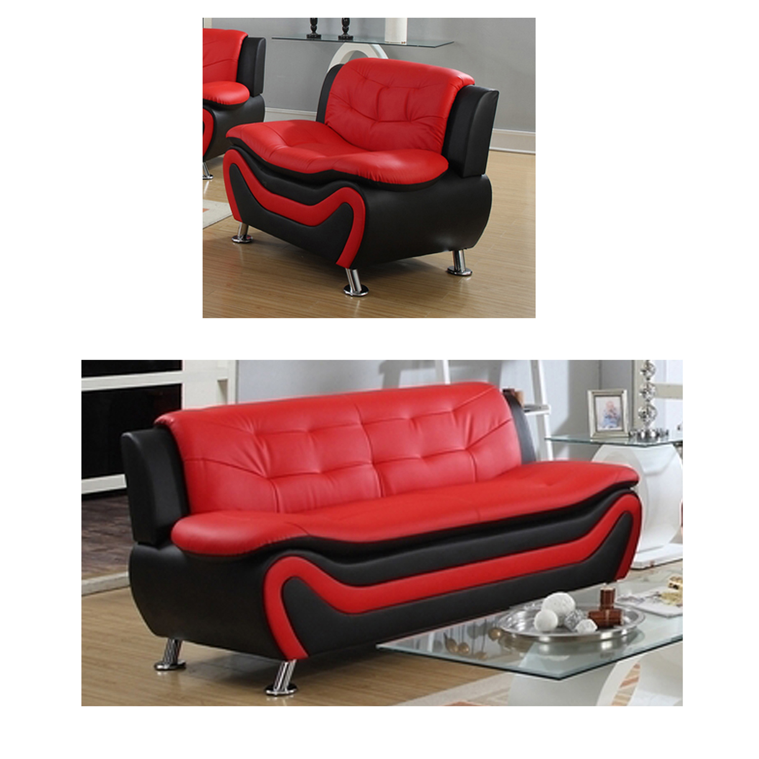Frady Black and Red Faux Leather Modern Living Room Sofa and Chair Set