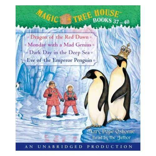 Magic Tree House Books 37-40: Dragon of the Red Dawn/Monday With a Mad Genius/Dark Day in the Deep Sea/Eve of the Emperor Penguin