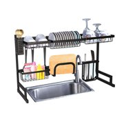 KARMAS PRODUCT Over Sink Dish Drying Rack Stainless Steel Kitchen Supplies Storage Shelf Multifunctional Tableware Drainer Organizer With Utensils Holder (33.4x12.5x20.4in)