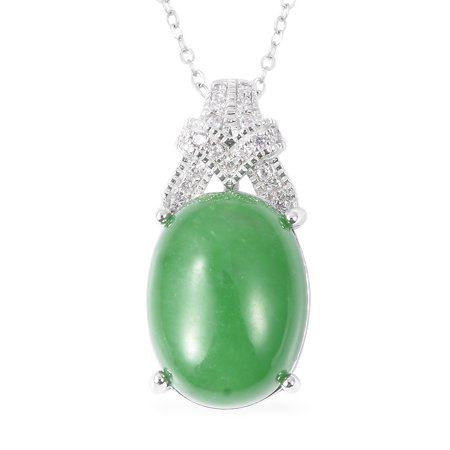 Chain Pendant Necklace 925 Sterling Silver Green Jade White Zircon Gift Jewelry for Women Size 18