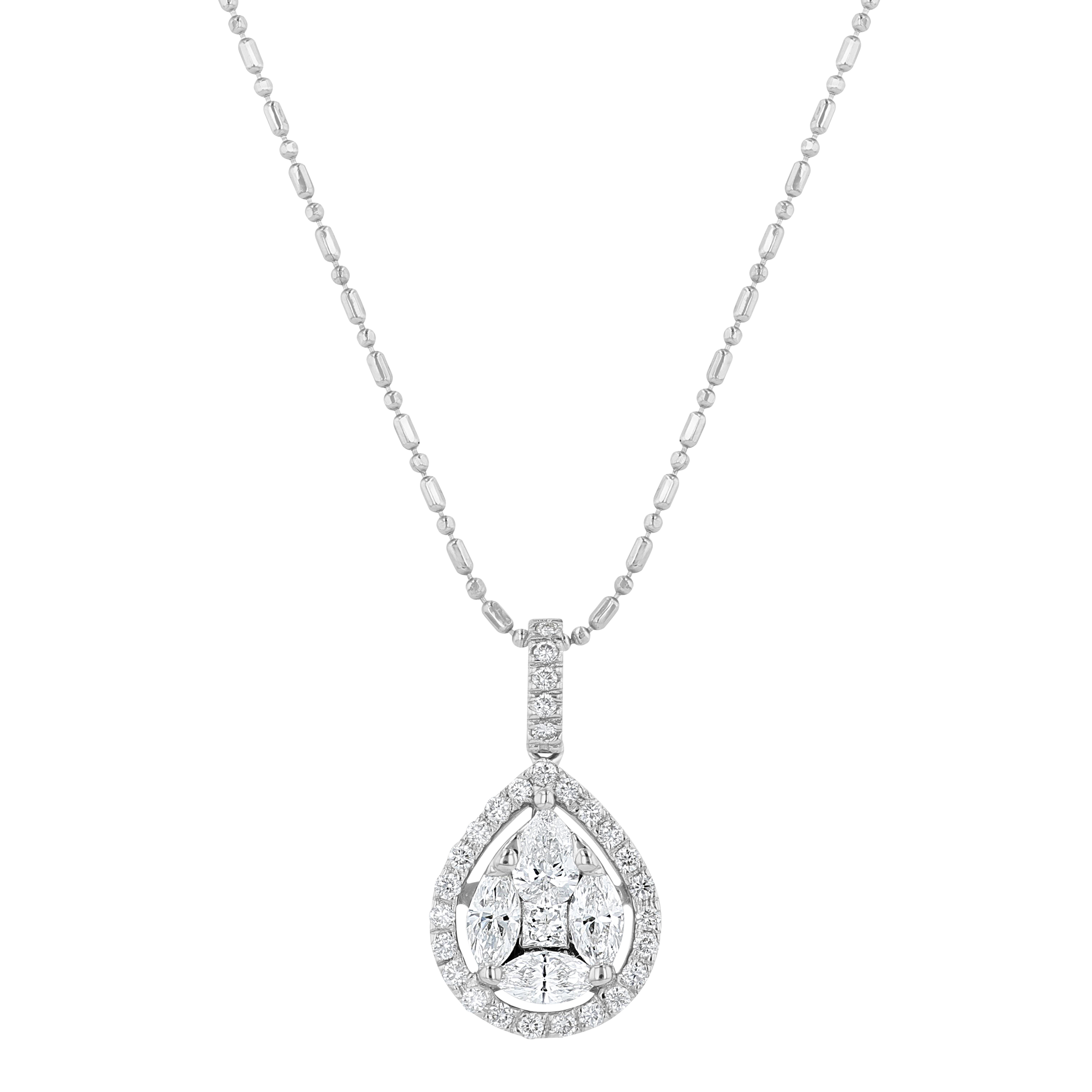 14k White Gold H-I SI2 Diamond kid pendant.