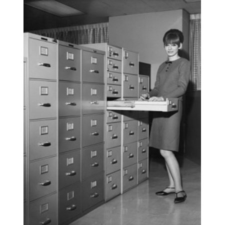 Insulated Holding Cabinet - Portrait of a businesswoman holding a document beside a filing cabinets Stretched Canvas -  (24 x 36)
