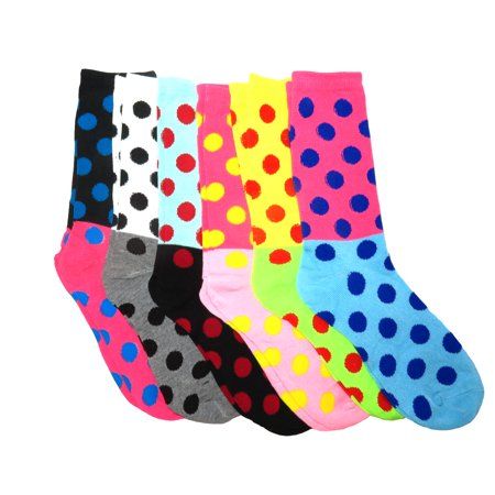 Fun & Colorful Two- Tone Polka Dot Assorted 6 Pack Crew Socks