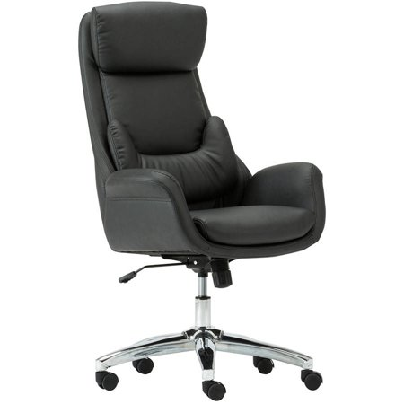 Manhattan Comfort Moden Home Office Chair With Lumbar Pillow And Chromed Base Black