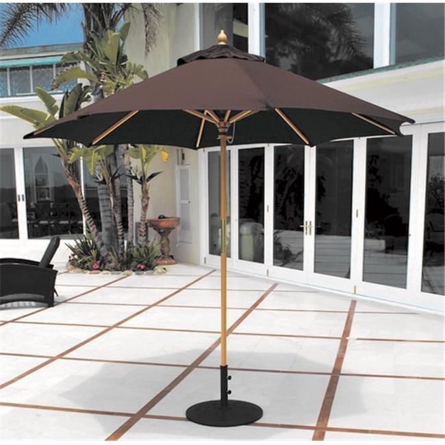 Galtech 9 ft. Light Wood All Purpose Wood Umbrella - Chocolate Brown