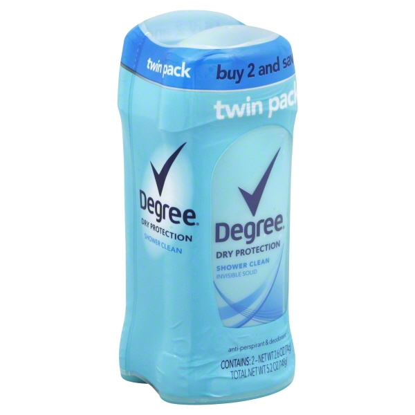 Degree Women Shower Clean Dry Protection Antiperspirant Deodorant 2.6 oz, Twin Pack