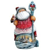 G.Debrekht 2821475 Woodcarving Bundle of Cheer 11 in. - Woodcarved Santa