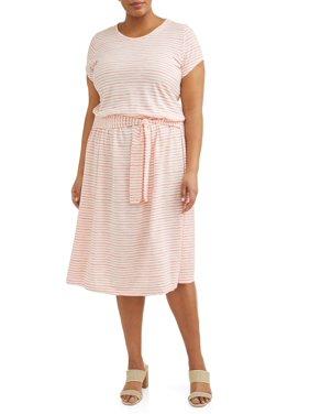 235bd27112d2 Product Image Women's Plus Size Short Sleeve Knit Tie Waist Dress