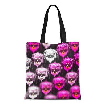 ASHLEIGH Canvas Tote Bag Colorful Halloween on White and Pink Pumpkins 3D Purple Durable Reusable Shopping Shoulder Grocery Bag - Purple Pumpkin