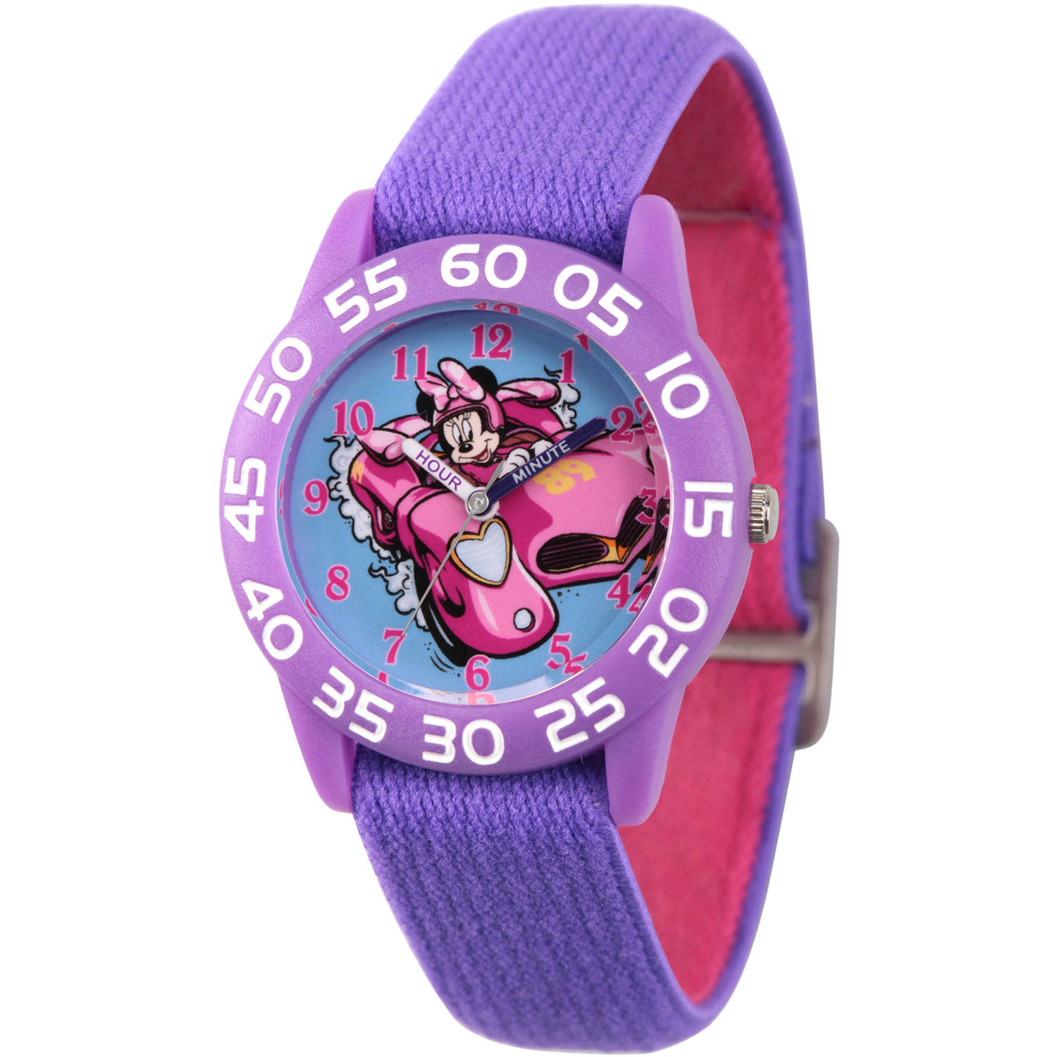 Minnie Mouse Girls' Purple Plastic Time Teacher Watch, Reversible Purple and Pink Nylon Strap