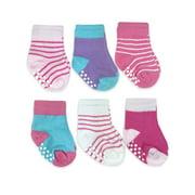 Jefferies Socks Baby Girls Non-Skid Assorted Crew Socks, 6-Pack