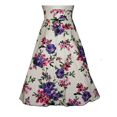 Classic Retro 1950s Polka Dot Back Smock Swing Skirt- FLORAL purple / pink   (MEDIUM)   W71