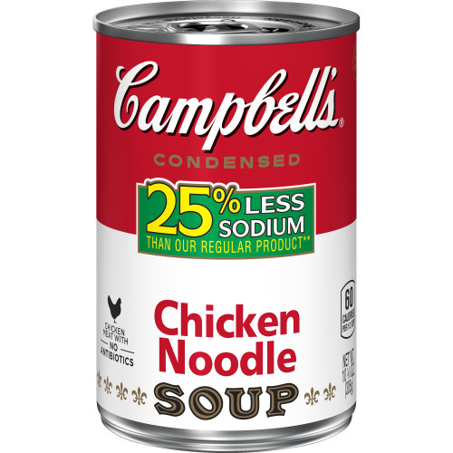 Campbell's Condensed 25% Less Sodium Chicken Noodle Soup, 10.75 oz.