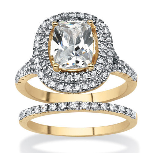 Palm Beach Jewelry 2 Piece 18k Gold-Plated Cubic Zirconia Ring Set