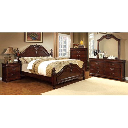 Luxurious English Style Cherry Finish Intricate Accent 4pc Set California King Size Bed Dresser Mirror Nightstand Bedroom Furniture Unique Traditional Look California King Set Dresser