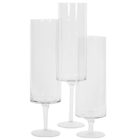 DIY Wedding Koyal Wholesale Pillar Candle Hurricane Pedestal Holders, Tall Glass Pedestal Candle Holders Centerpiece, Wedding Glass Stem Hurricanes Set of 3 (Clear, 3.7 x 11.8, 13.7, 15.7) (Wholesale Superstore)