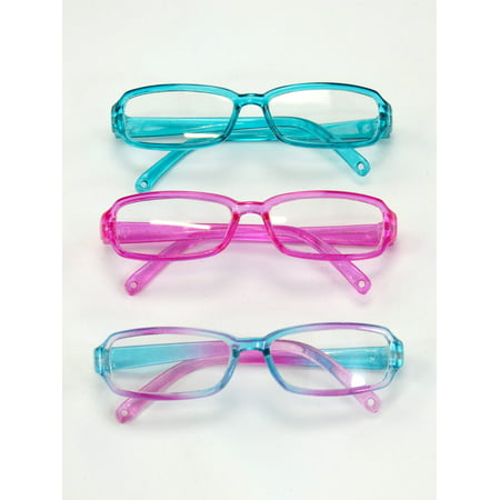 Oval Glass Doll - Three Pairs Multicolored Reading Glasses | Fits 18