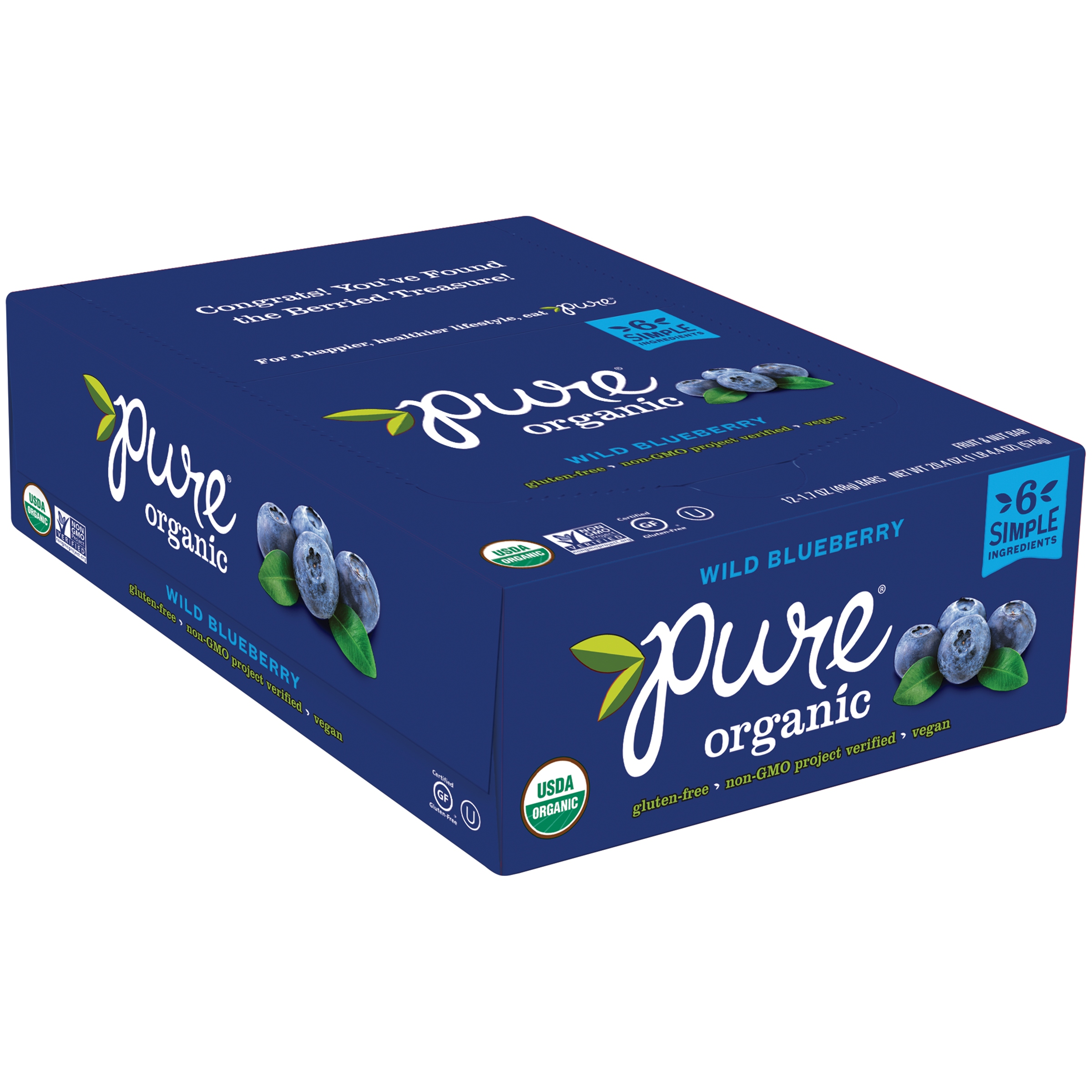 Pure® Organic Wild Blue Berry Fruit & Nut Bar 12 ct Box