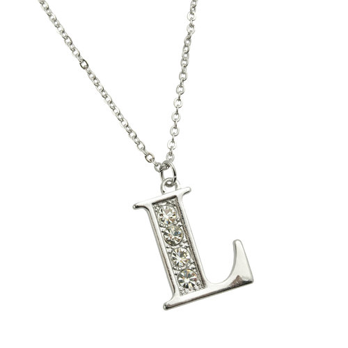 "Imitation Rhodium ""K"" Initial Necklace, 16"""