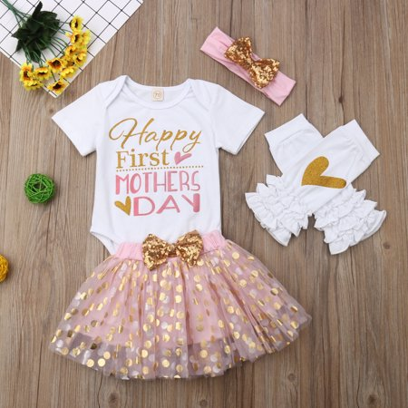 4Pcs Mother's Day Clothes Sets Romper Tops + Tutu Skirt + Warm Legging + Headband](Tutu Next Day Delivery)