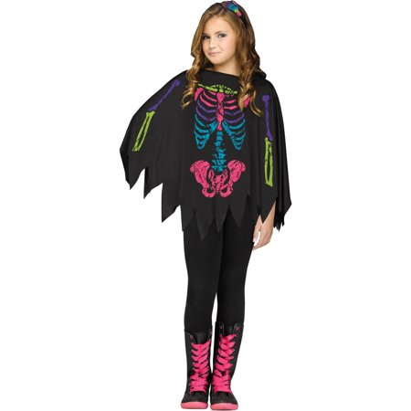 Minecraft Skeleton Halloween Costume (Skeleton Poncho Girls Child Halloween)
