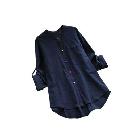 Women Plus Size V Neck Long Sleeve Buttons Blouse Tops Casual Cotton Linen Shirt Barba Napoli Linen Shirt