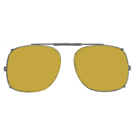 Visionaries Polarized Clip on Sunglasses - Square - Gun Frame - 55 x 46 Eye