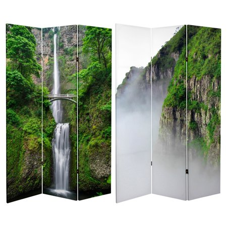 Oriental Furniture Double Sided Mountaintop Waterfall Canvas 3 Panel Room Divider
