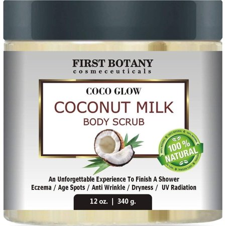 - 100% Natural Coconut Milk Body Polish 12 oz. With Dead Sea Salt and Vitamin E. Powerful Body Scrub Exfoliator and Daily Moisturizer For All Skin Types