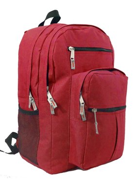 Backpack 18 inch School Book Bag Multi Pockets College Student Day Pack Red