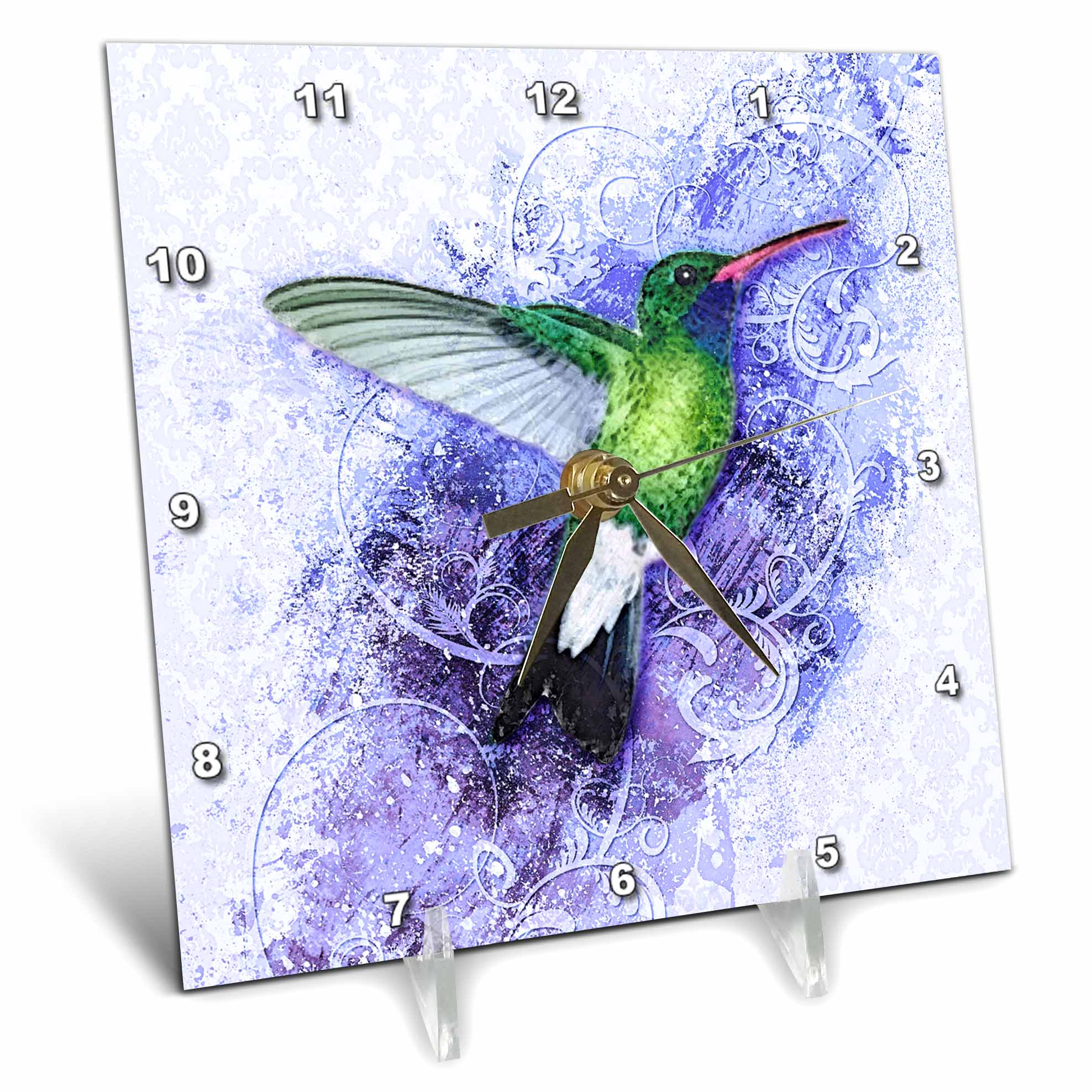 3dRose Humingbird on Blue, Desk Clock, 6 by 6-inch