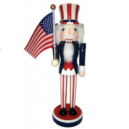 Patriotic Uncle Sam Holding American Flag Wooden Christmas Nutcracker 14